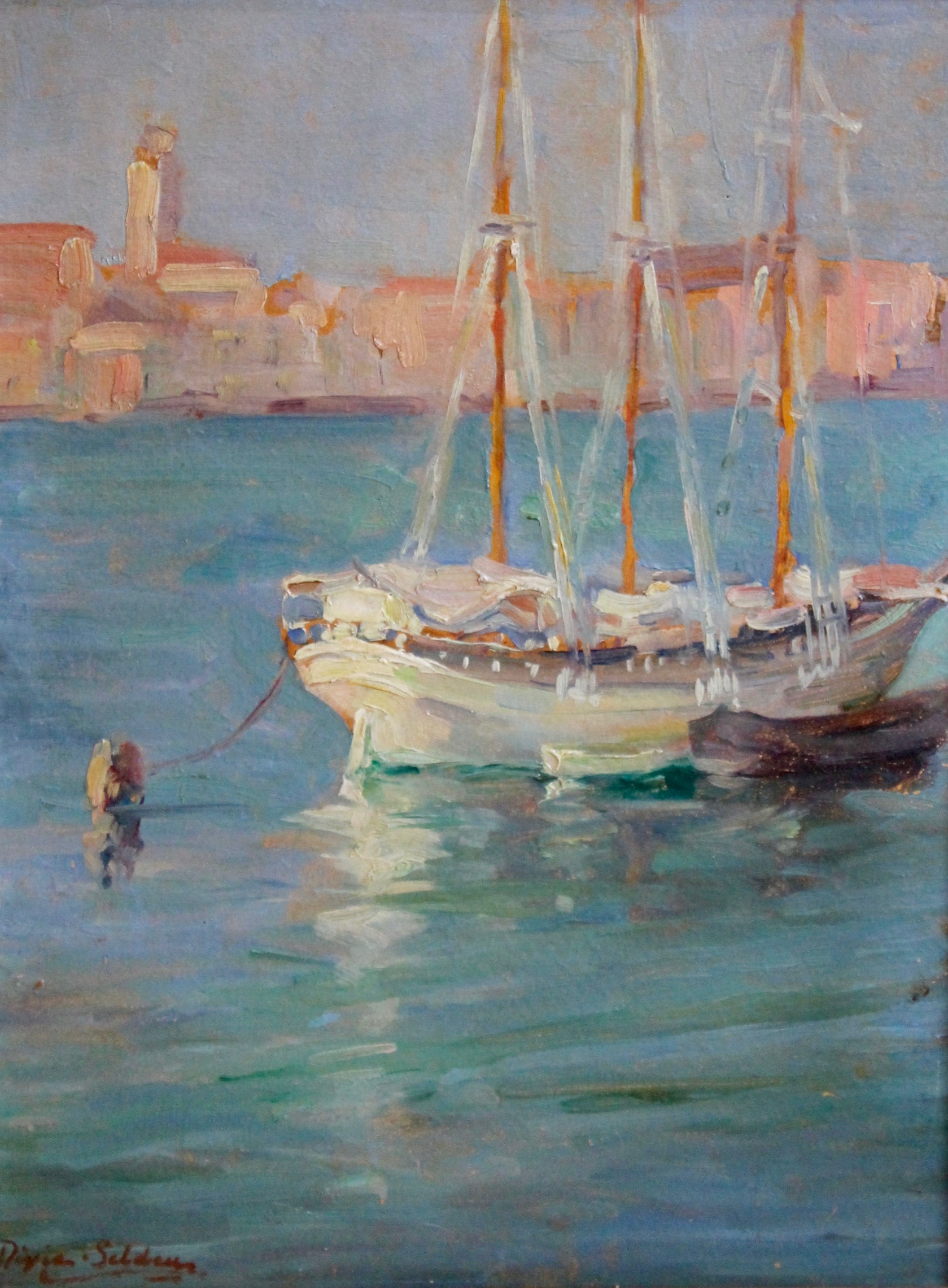 """Boats, Venice"", Oil on canvas, 16""x12"", signed"