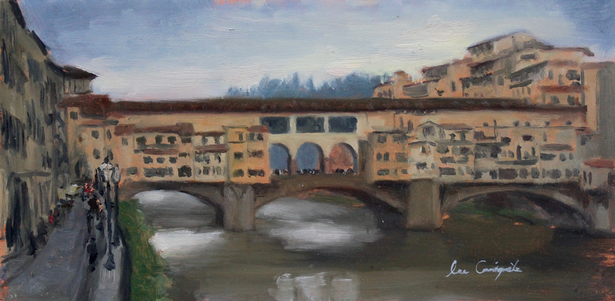 """View of Ponte Vecchio"", 6x12 in, Oil on panel"