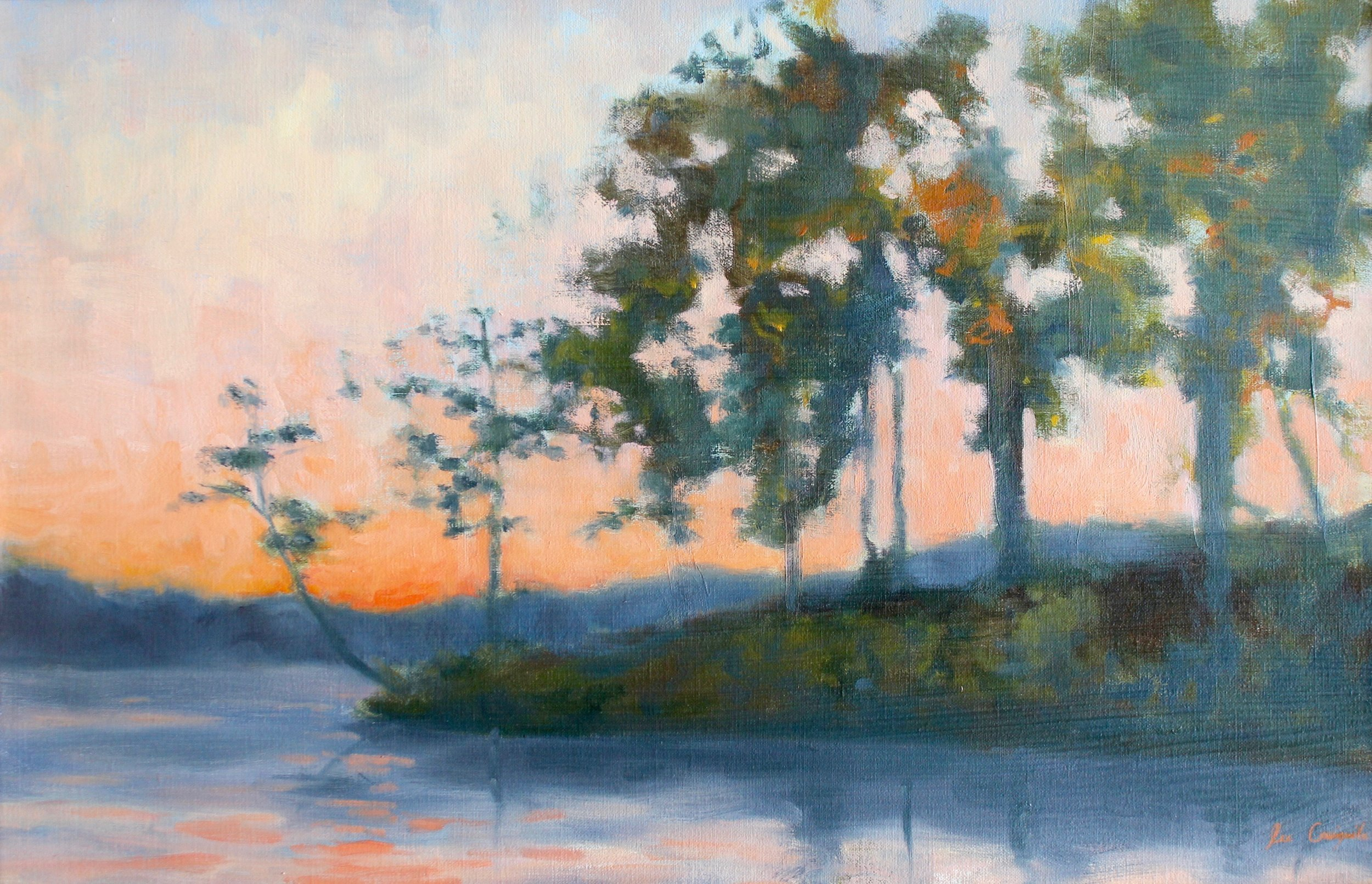 "Lee Craigmile, ""Sunset on Lake Keowee"", 16x24 in, Oil on linen"