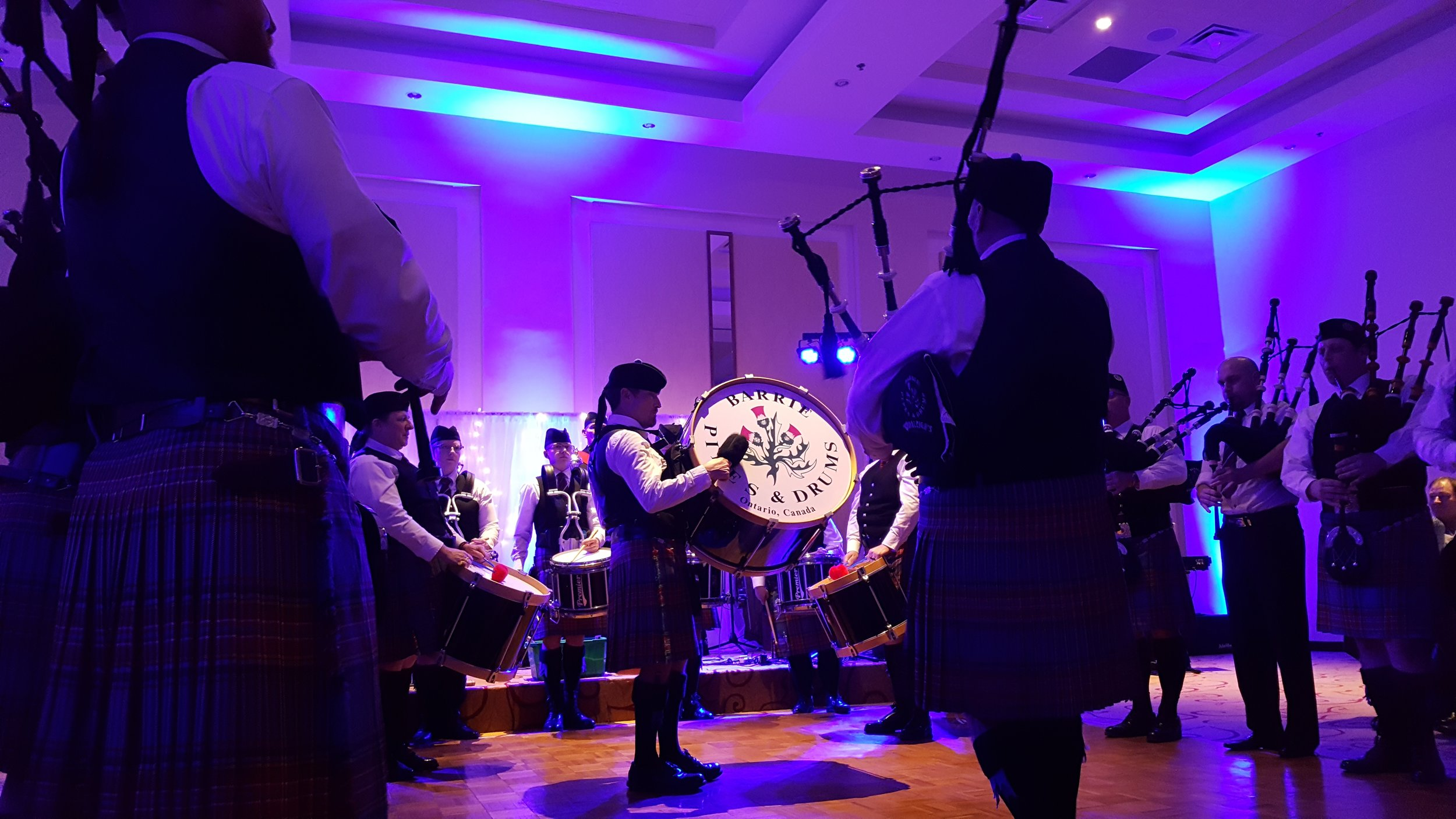 During our performance at our Robbie Burns Night.