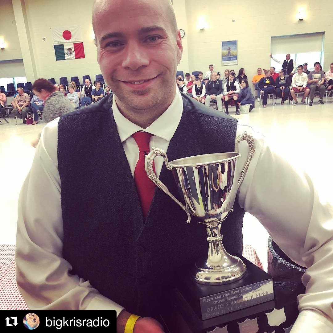 Kris showing off his trophy for Gr2 Amateur Piper of the Day at the Ottawa Branch Indoor Games. Make sure to follow him on Instagram too!