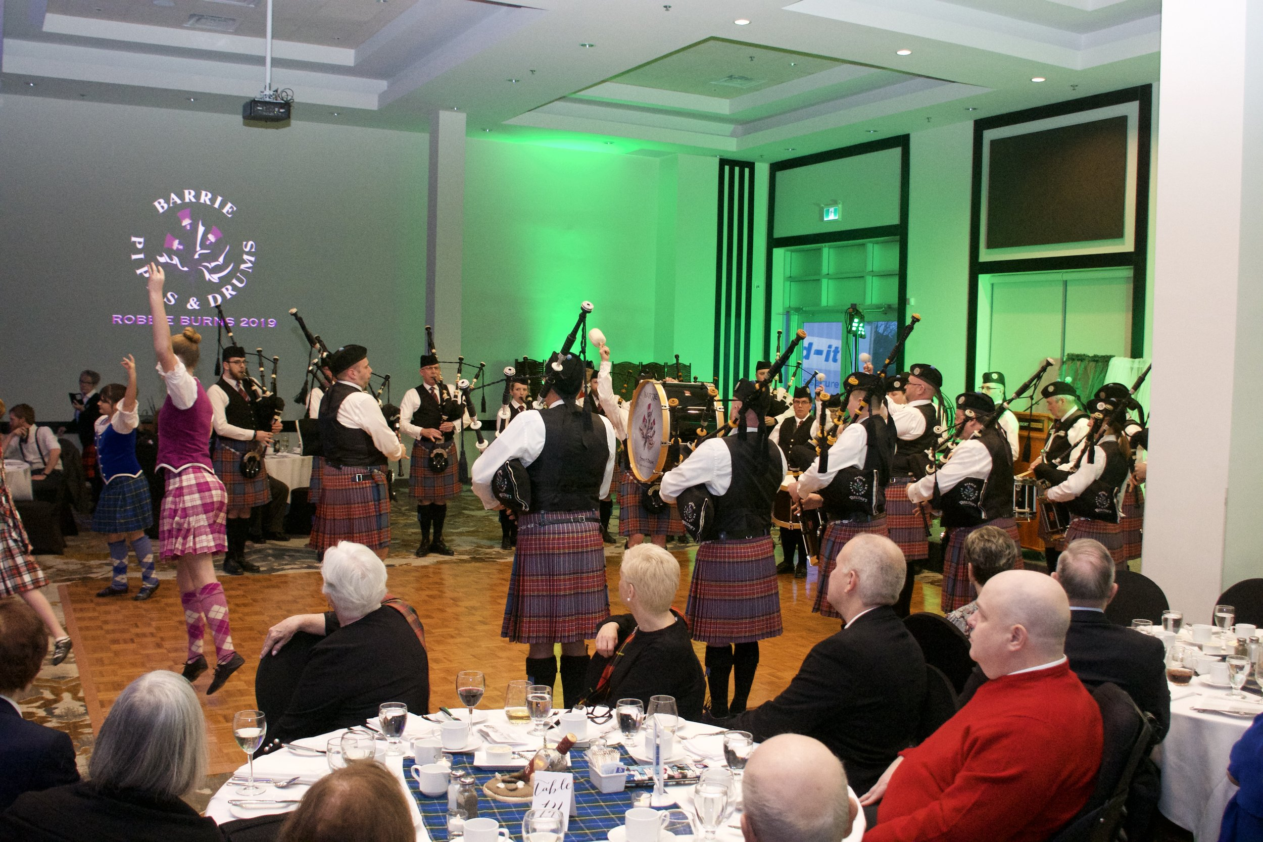 Full band performance with dancers of Miller School of Highland Dance at our Robbie Burns Night