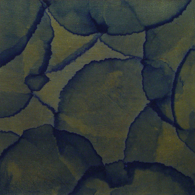 111312 , 2012, Acrylic over metal leaf on paper, 11 x 11 inches