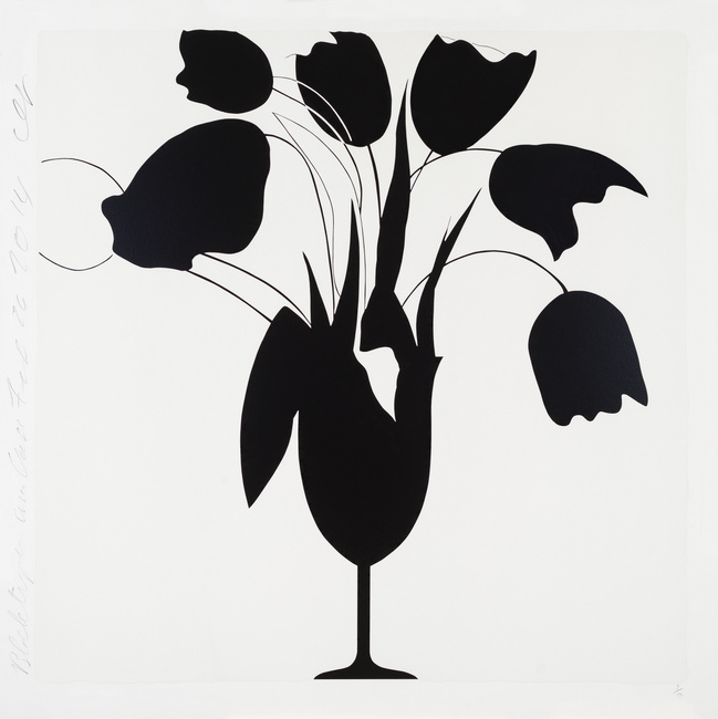 Donald Sultan ,  Black Tulips and Vase, Feb 26, 2014 , 2014, Silkscreen with enamel inks and tar-like texture on 4-ply museum board, 46 x 46 inches, Ed. of 50