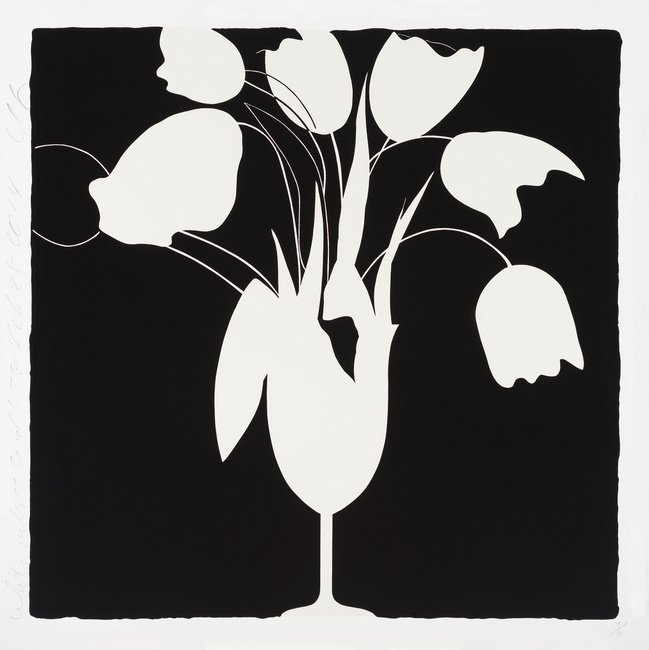 Donald Sultan ,  White Tulips and Vase, Feb 25, 2014 , 2014, Silkscreen with enamel inks and tar-like texture on 4-ply museum board, 46 x 46 inches, Ed. of 50