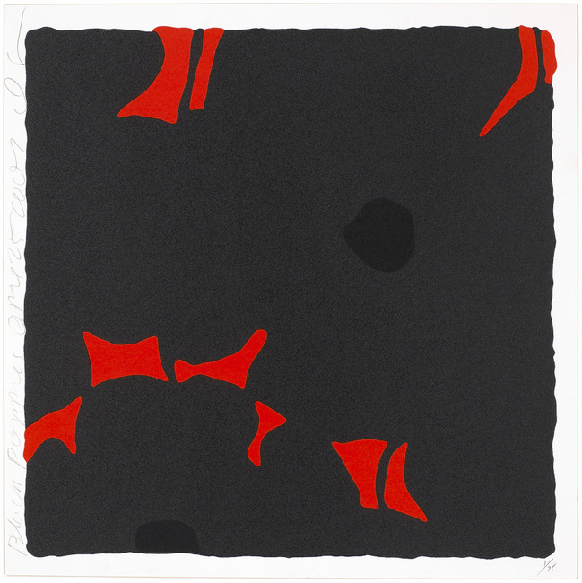 Donald Sultan ,  Black Poppies, April 25, 2007 , 2007, Silkscreen inks and flocking, 24 x 24 inches, Ed. of 75
