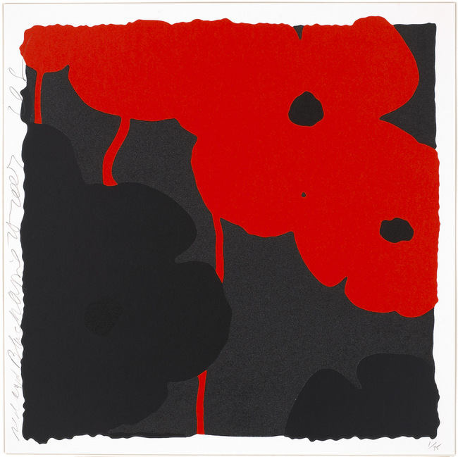 Donald Sultan ,  Red and Black, April 25, 2007 , 2007, Silkscreen inks and flocking, 24 x 24 inches, Ed. of 75