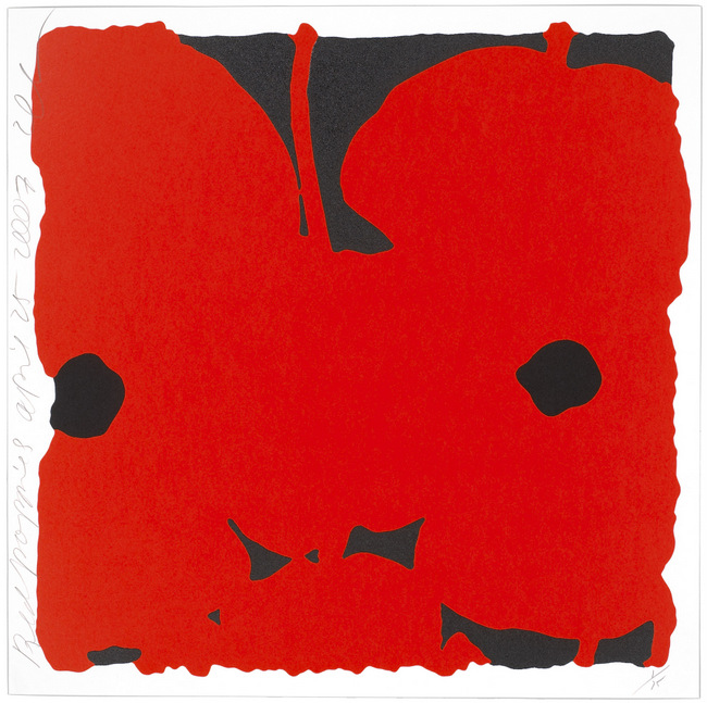 Donald Sultan ,  Red Poppies, April 25, 2007 , 2007, Silkscreen inks and flocking, 24 x 24 inches, Ed. of 75