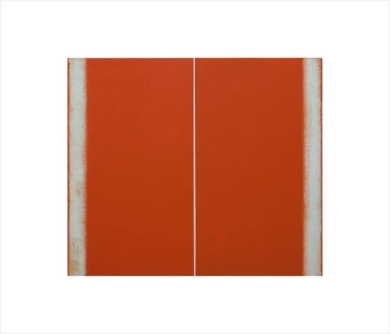 Betty Merken, Structure Orange, 2015, Oil monotype, 14 x 16 inches