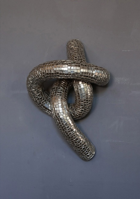 Silver Knot (series 4) , glass, composite, concrete and steel, 22 x 14.5 x 12 inches.