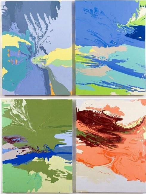 Leah Durner, Four panel piece, poured enamel on canvas, 2008:   bluegreyyellow pour; blueturquoisegreenbeige pour; greenbluedarkred pour; carminevioletdarkred pour.