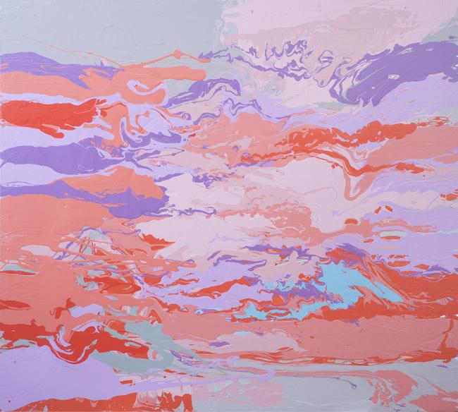 Leah Durner, darkpinkvioletbeigegrey pour , 2015, poured enamel on canvas, 60 x 66 inches