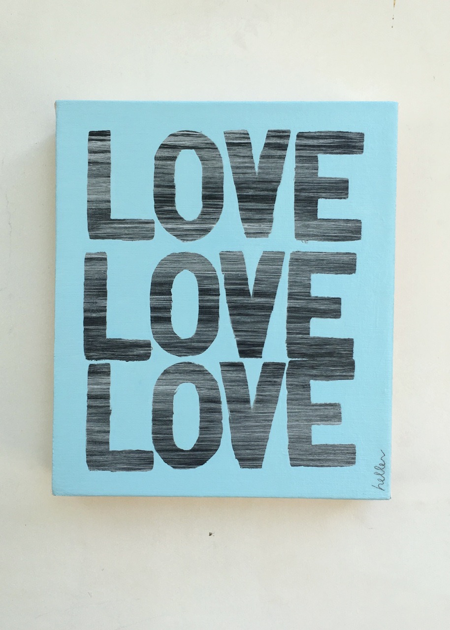 Matthew Heller,  Love Love Love (blue) , 2016, Acrylic on canvas, 11 x 9.5 inches
