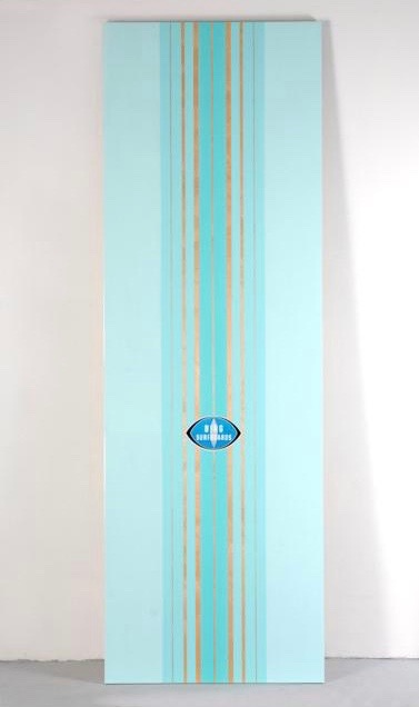 Peter Dayton,  Bing #9 (Blue Surfer) , 2008, Oil, acrylic and paper decal on birch panel, 96 x 32 inches