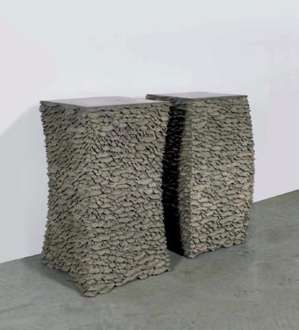 Convex Drum , 2011, Bronze (unique cast), 27 3/4 x 16 x 16 inches   Concave Drum , 2011, Bronze (unique cast), 27 5/8 x 16 1/2 x 16 1/2 inches