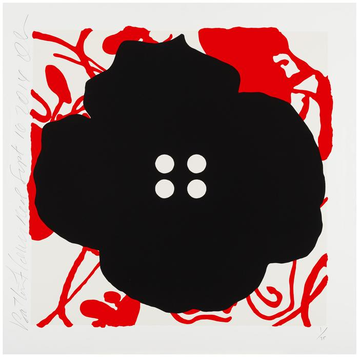 Donald Sultan,   Button Flowers Red, Sept 16, 2014 , 2014, Color silkscreen with enamel inks and flocking on 2-ply museum board, 30 x 30 inches