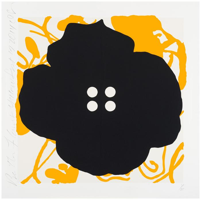 Donald Sultan ,  Button Flowers Yellow, Sept 17, 2014 , 2014, Color silkscreen with enamel inks and flocking on 2-ply museum board, 30 x 30 inches