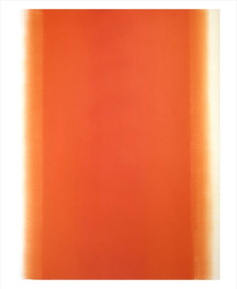 Betty Merken,  Illumination, Orange,09-16-02,  2016,Oil monotype on Rives BFK paper, 54 x 39.5 inches