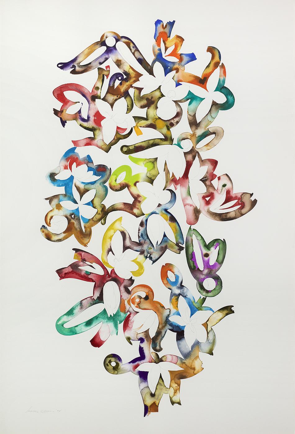 Martin Kline  , Figure , 1994, Pencil, watercolor and gouache on paper, 60 x 40 1/4 inches