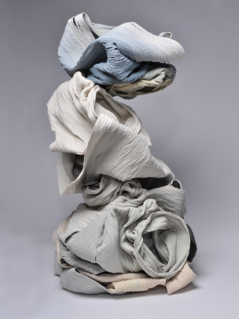 Perch,  2015, Hand-coiled porcelain ceramic, 38 x 20 x 20 inches