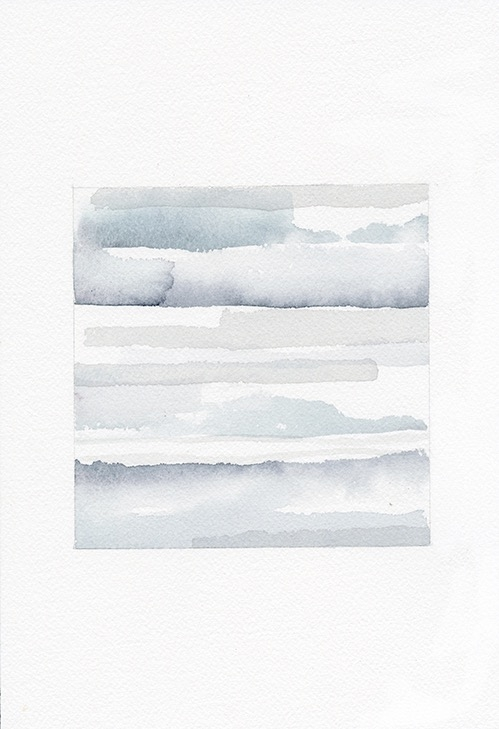 Sea 21, watercolor on paper, 5 x 5 inches (15 1/2 x 13 3/4 inches framed)