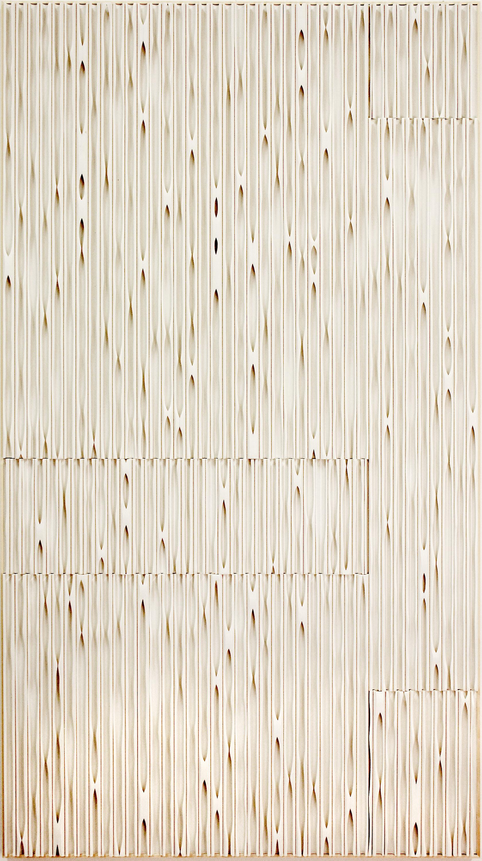 Jessica Drenk, Erosion: Slice,  2017,  PVC pipe on panel with an aspen frame