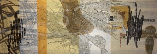 Sarah Amos, Sweet River Night River, 2010, collagraph and acrylic on Japanese paper, 108 x 38 1/2 inches