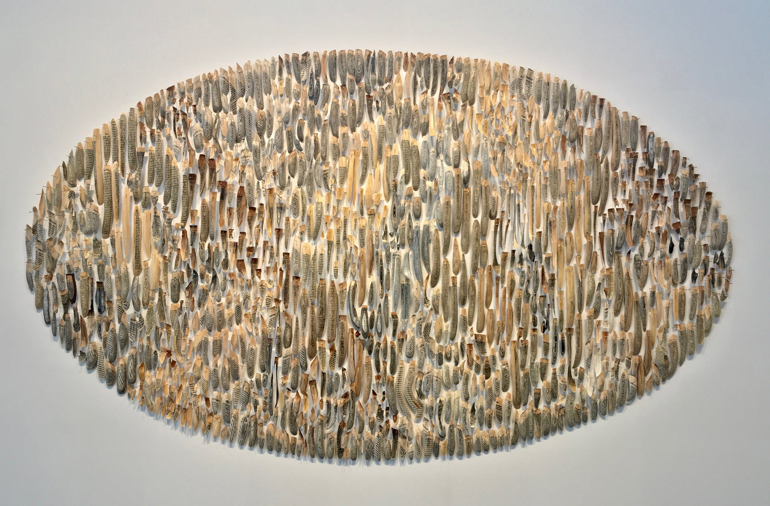 Jessica Drenk, Bibliophylum,  2017,books, wax, & pins, 47 x 80 inches