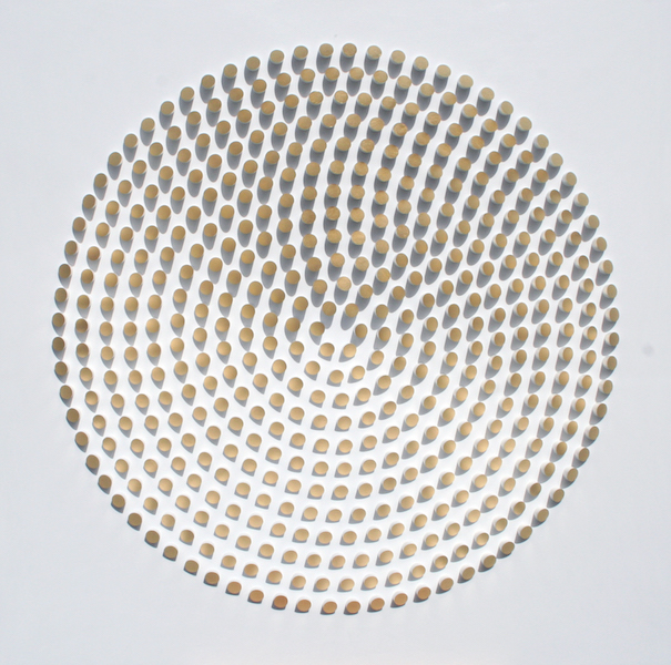 Peter Monaghan,   Dowels with Gold Leaf, Gold leaf on wood, 45 1/2 x 45 1/2 inches
