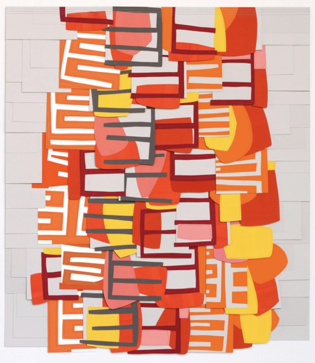 Raymond Saà , Untitled , 2017, Gouache collage on sewn canvas, 32 x 28 inches