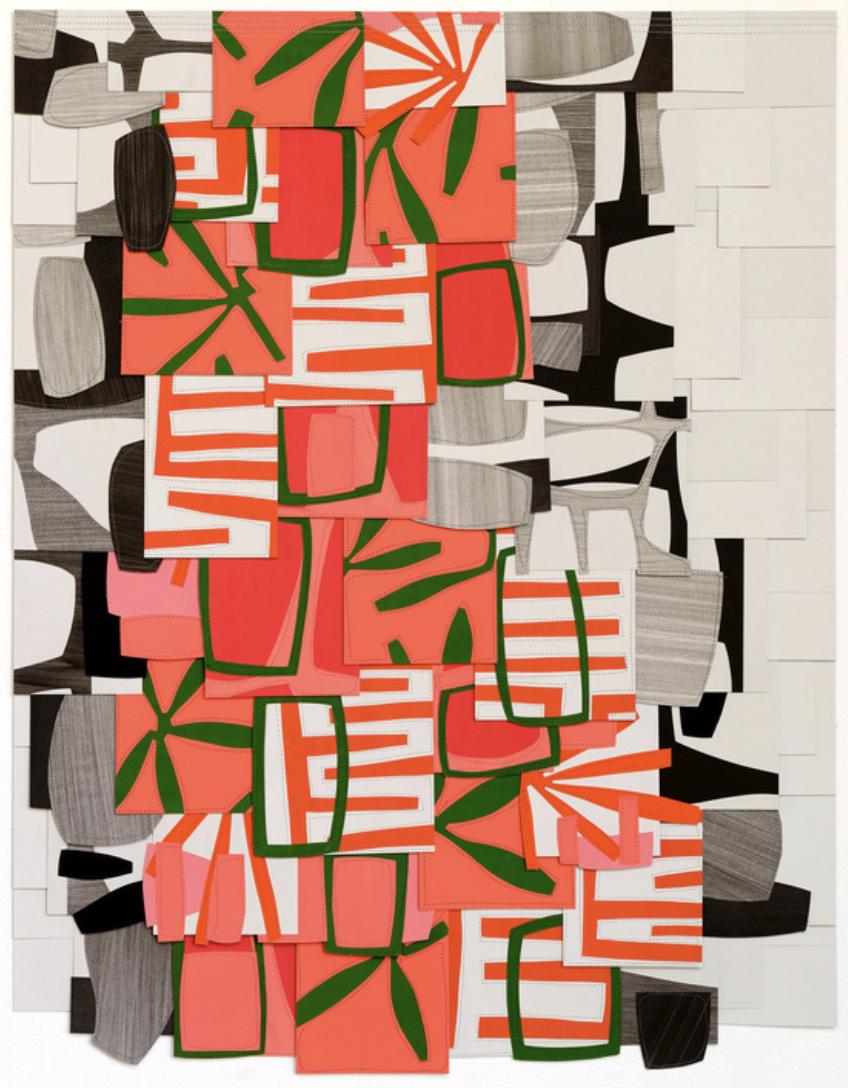Raymond Saà , Untitled , 2017, Gouache collage on sewn canvas, 36 x 28 inches