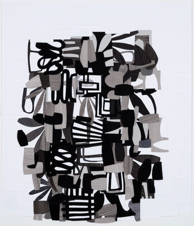 Raymond Saà , Untitled , 2017, Gouache collage on sewn canvas, 40 x 34 1/2 inches