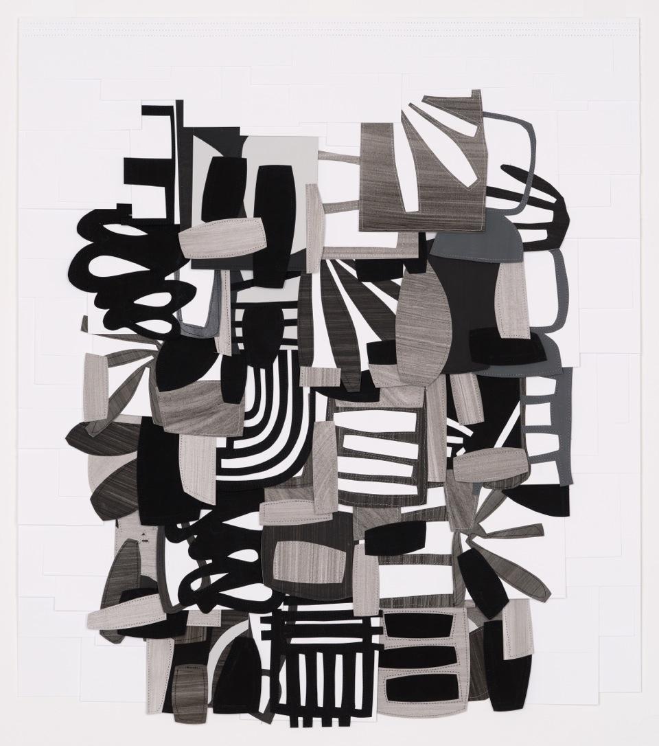 Raymond Saà , Untitled , 2017, Gouache collage on sewn canvas, 32 1/2 x 28 1/2 inches