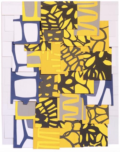 Raymond Saà , Untitled , 2017, Gouache collage on sewn canvas, 28 x 22 inches