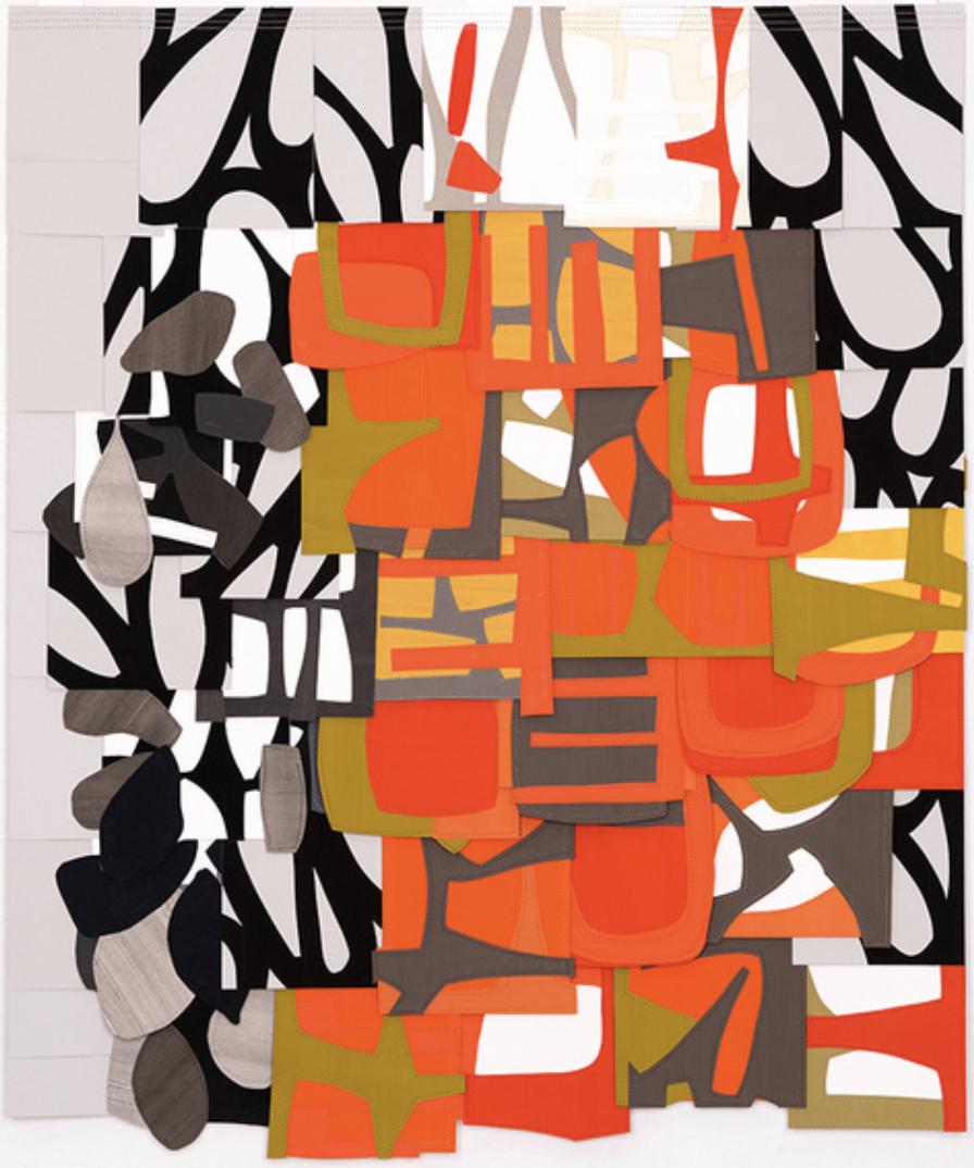 Raymond Saà , Untitled , 2016, Gouache collage on sewn canvas, 36 x 30 inches