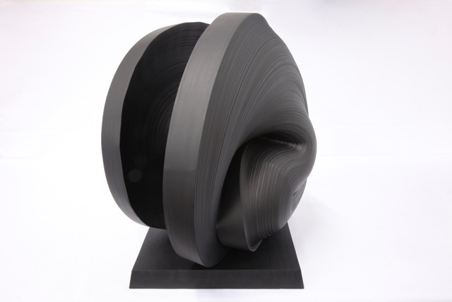 Jae Ko , JK777 Black , Rolled paper, Sumi Ink, graphite powder and glue, 16 x 20 x 15 inches