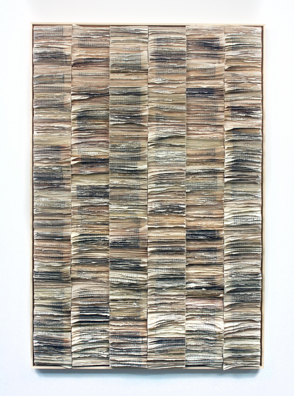 Jessica Drenk  , Spine: Columns , 2018, Torn books, 41 x 28 inches