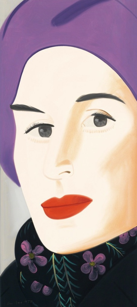 Alex Katz,   Purple Hat (Ada) , 2017, Archival pigment inks on Crane Museo Max 365 gsm paper, 46 x 21 inches, Ed. 113 of 125