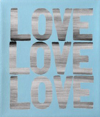 Matthew Heller  , Love Love Love (Blue), 2018, Acrylic on canvas, 11 x 9 1/2 inches