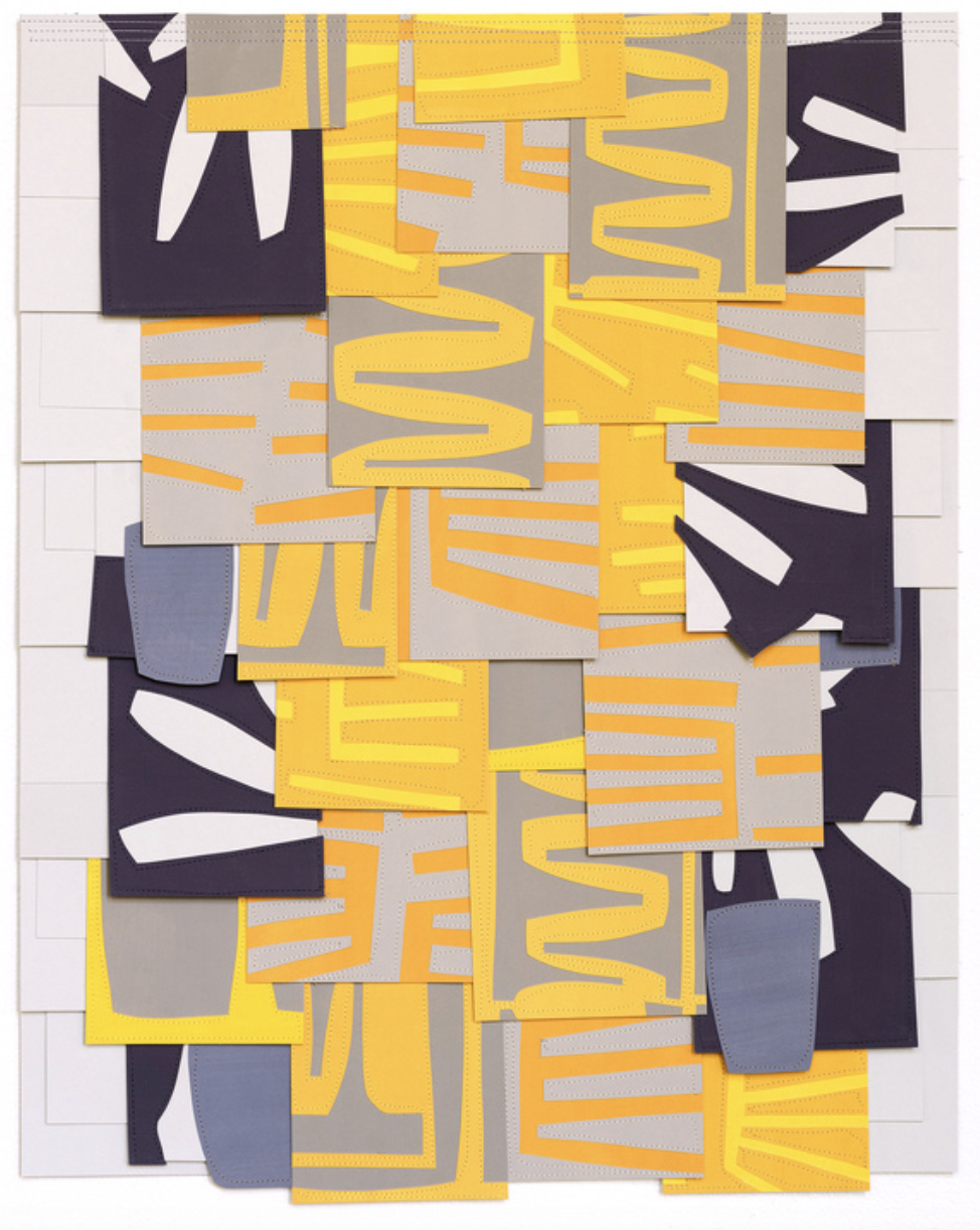 Raymond Saà  , Untitled, 2017, Gouache collage on sewn paper, 28 x 22 inches