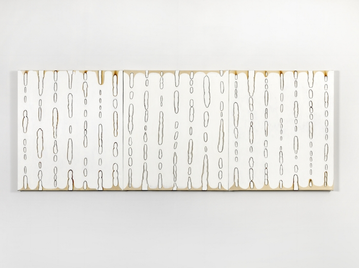 Kathleen Kucka,  Whose Winning,  2016, oil and burns on canvas; triptych, 32 x 84 inches overall