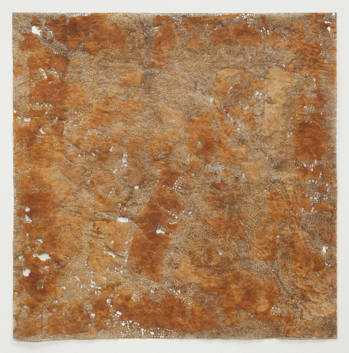 Jay McCafferty,  Rust 5,  2013, solar burns and rust on paper, 41 1/2 x 41 1/2 inches frame