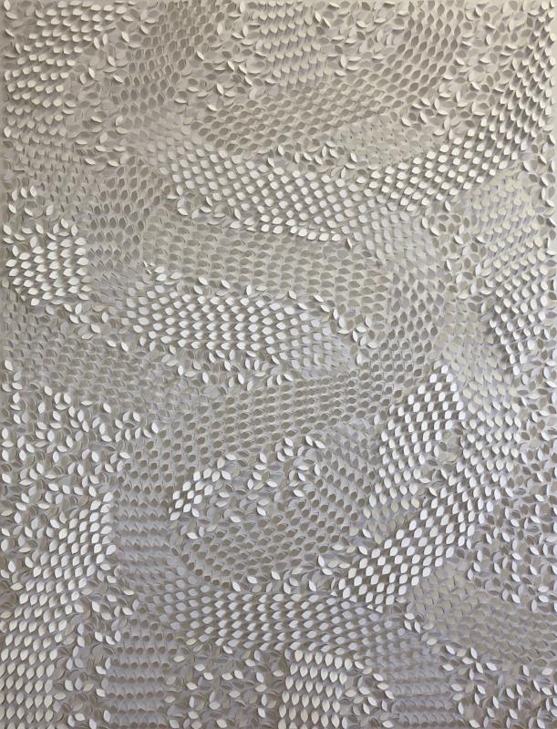 Jaq Belcher   , Transit,  2018, hand cut paper; 8,355 cuts, 42 x 54 inches frame