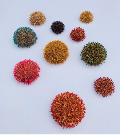 Andres Schiavo  , Ovalos,  colored pencils, wood, set of 10. 8 or 5 inches each; install dimensions variable.