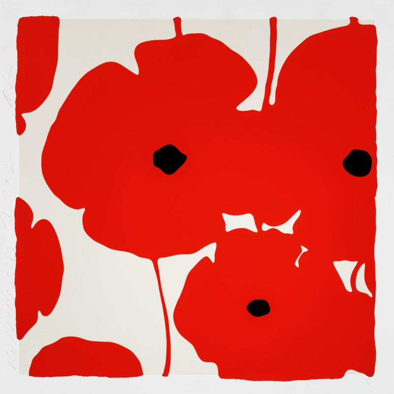 Donald Sultan,   Four Poppies, Red , 2018, silkscreen in colors with enamel inks, flocking, and tar-like texture on 2-ply museum boards; suite of 4 (can be separated), 39 x 39 inches each, ed. of 40