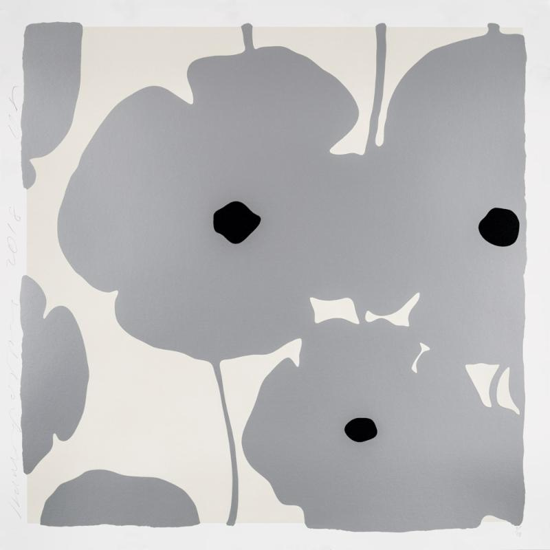 Donald Sultan,   Four Poppies, Silver , 2018, silkscreen in colors with enamel inks, flocking, and tar-like texture on 2-ply museum boards; suite of 4 (can be separated), 39 x 39 inches each, ed. of 40