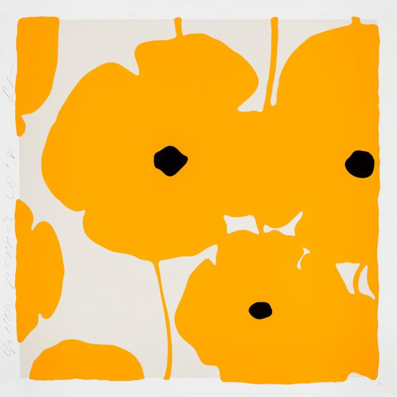 Donald Sultan,   Four Poppies, Yellow , 2018, silkscreen in colors with enamel inks, flocking, and tar-like texture on 2-ply museum boards; suite of 4 (can be separated), 39 x 39 inches each, ed. of 40