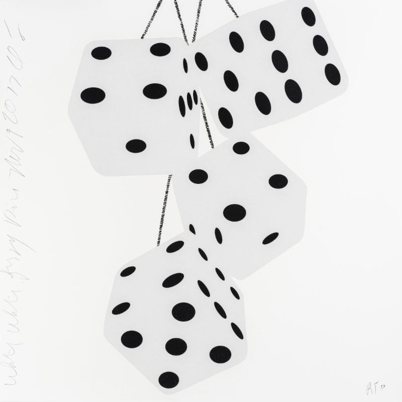 Donald Sultan,   White White Fuzzy Dice Nov 9 2017 , 2017, silkscreen with enamel inks and flocking on 2-ply museum boards; suite of 4 (can be separated), 24 x 24 inches each, ed. of 30