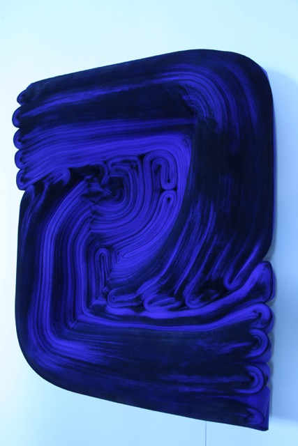 JK485 Ultramarine Blue ,  Rolled paper, colored ink and glue, 29 x 24 x 6 inches