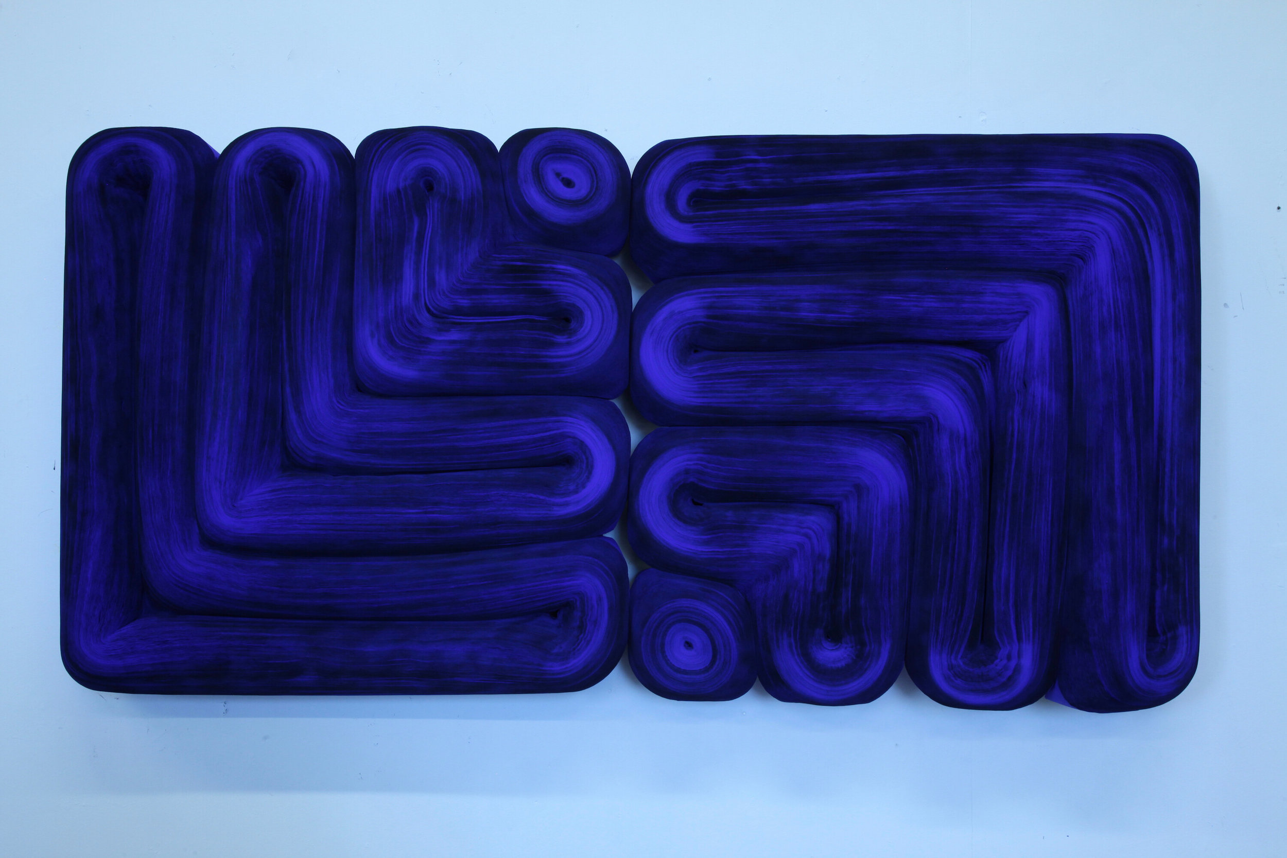 JK491 Ultramarine Blue , Rolled paper, colored ink and glue, 24 x 48 x 7 inches